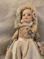 "Small 7.5"" Porcelain Doll, Soft Body, Porcelain Head & Shoulders, Hands, Feet"