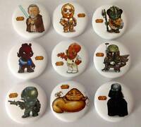 Lot of 9 Cartoon Star Wars Badges #2 - 3cms diameter - party loot bag favours