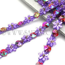 PURPLE LILAC FLORAL SEQUIN BEADED TRIM Rhinestone trimming,edging TRIM