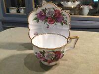 Vintage Bone China England Salisbury Tea Cup Flowers Gold Trim