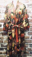 VTG VICTORIA'S SECRET Terry Cloth & Satin GEISHA KIMONO Red Gold Robe Sz P/S