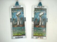 Set of 2 Authentic Superbowl Tickets LI Patriots Falcons 2017 +Lanyards & Passes