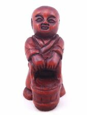 *Ship From U.S* Boxwood Hand Carved Art Netsuke Sculpture Boy Lift Bamboo Basket