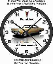 1967 PONTIAC GTO GOLD WALL CLOCK-Camaro, Mustang, Corvette