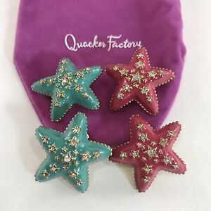 Quacker Factory Star Earrings Pink And Turquoise Enamel Rhinestone Clip Ons