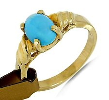Women's .73 ct Powder Blue Turquoise Solitaire in 14k Solid Gold