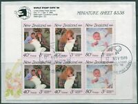 New Zealand 1989 SG1519X World Stamp Expo Princess Beatrice MS on piece FU