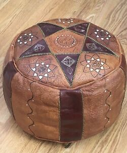 Vintage Moroccan Style Leather Pouffe. Embossed Pattern Tan/Brown. 13x10 Inches