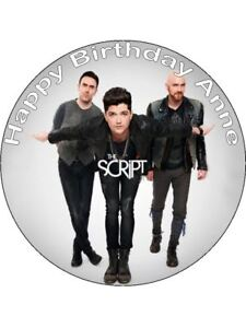 7.5 ROUND BAND THE SCRIPT EDIBLE ICING BIRTHDAY CAKE TOPPER