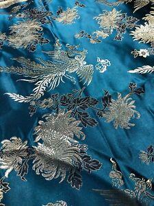 "3 yds x 44"" Turquoise PHOENIX CARNATION Brocade Fabric - Chinese Asian Aqua Teal"