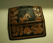 Vtg Hand Tooled Mexican Leather Wallet Horse Surround by Flowers Tri-Fold 9 1/2""