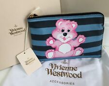 VIVIENNE WESTWOOD BLUE STRIPE LEATHER WITH CARE BEAR TEDDY PRINT CLUTCH POUCH