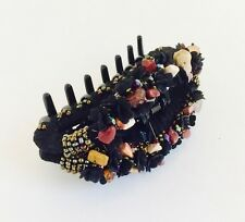 "NWT STRONG PLASTIC NO SLIP HAIR BARRETTE JAW CLIP CLAW, LARGE 4""- BLACK MULTI"