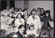 Old Vintage Photograph Wedding Bride & Groom Crazy Hats - Moustache