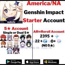 NA Server Genshin Impact L7 Keqing Diluc Jean Qiqi Mona Zhongli Starter Account