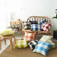 Lattice Checked Pillow Case Cotton Linen Sofa Throw Cushion Cover Home Decor Yc