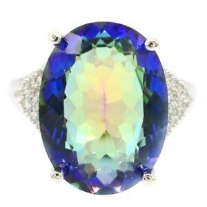 Big Oval Gemstone Fire Rainbow Violet Topaz CZ Fashion Jewelry Silver Ring 7.0