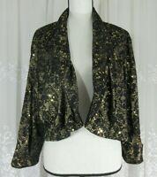 New Dressbarn Womens Plus 20 W Black Gold Sequin Crop Open Lace Blazer Jacket