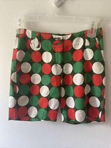 Loudmouth Golf Bermuda Shorts Dot Circle Print Green Red White Women's Size 2