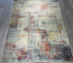 Distressed Abstract Rug Blue Modern Living Room Rugs Designer Artistic Area Rug