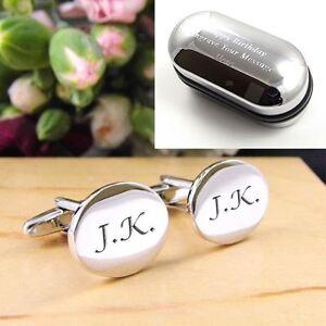 Silver Oval Engraved Personalised Initial Cufflinks - Men's Wedding/Birthday