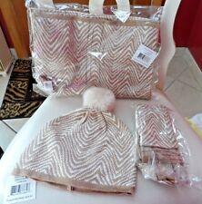 Vera Bradley set of 3 - cozy knit scarf, tech gloves, hat in zebra Intarsia