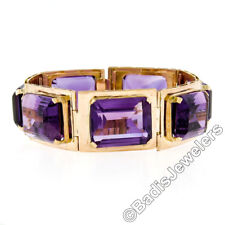 Retro Vintage 14k Rose Gold Russian 130ctw Emerald Cut Amethyst Link Bracelet