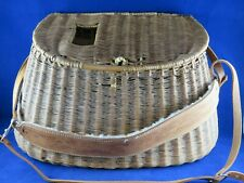Vintage Wicker Creel Basket with Beautiful Leather Strap Trout Fishing Basket