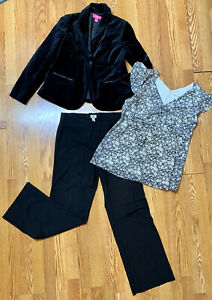 3pc Ann Taylor Loft Maternity Career Work Suit Jacket coat and Pant Set Lot M 8