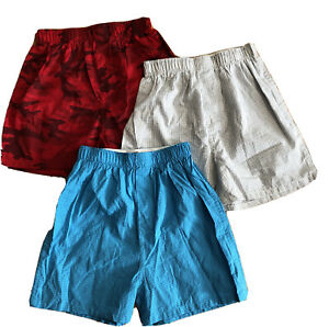 Gap Kids 3 Pairs Boxer Shorts - Red Camo Blue Gray Check - Cotton Size M