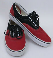 Mens Lace Up Low Top Red Black Suede Vans Shoes Sneakers Skater Two Tone Size 10