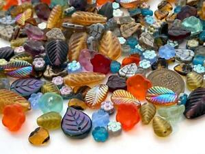 Pressed Czech Glass Flower Leaves Beads Mix 30