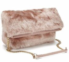 BNWT NEW RRP £49 FIORELLI TYRA PINK FUR CLUTCH SHOULDER  EVENING BAG GOLD CHAIN