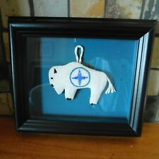 ANTIQUE NATIVE AMERICAN WHITE BUFFALO BEADED FETISH / FRAMED / MINT CONDITION