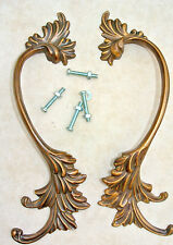 """2 old look french style pulls handles pair heavy brass vintage style doors 8"""""""