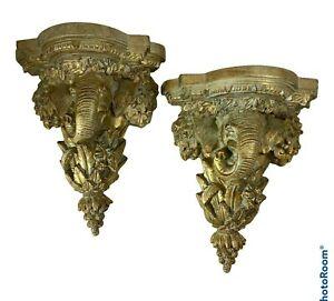 Pair Elephant Bracket Wall Shelf Ornate Plate Holder Gold Traditional Home Dec