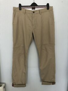 Ben Sherman Beige Selvedge Chinos Trousers 36/32