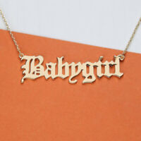 BabyGirl Gold Necklace, Baby Girl Necklace Rustic Script Large Baby Name Pendant