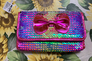 Claire's Sparkling Sequin Rainbow Pink Blue Yellow Green Bow Wallet Valentines