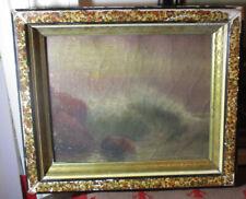 1905 ORIGINAL OIL PAINTING SEASCAPE ROCKS WAVES /s J G SPENSER?