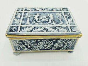 Vintage R Capodimonte Porcelain Trinket Box Italy Cherubs Blue & White Decor