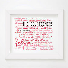 `Zephyr` THE COURTEENERS Art Print Typography Album Song Lyrics Signed Poster