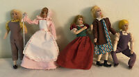 Lot Of (5)Vintage 9 inch Pressed Felt Cloth Dolls Perfect for Diorama