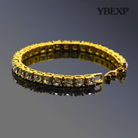 ATOP Men's 1Row Gold Plated Silver Black Lab Diamond Tennis Bracelet