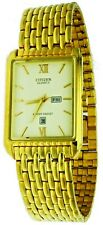 New Old Stock Rare Rectangular Citizen Day &Date Gold Tone S.Steel Water-R Watch