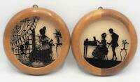 Vintage Silhouette Reverse Painted Wall Hanging Pair Victorian Family