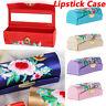 Lipstick Case Lip Gloss Box Mini Mirror Makeup Storage Retro Embroidered Box