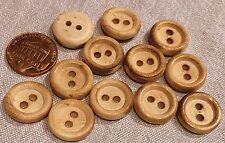Lot of 12 Pyrographed Burnt Wood Wooden Sew-through Buttons 5/8