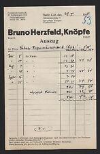 BERLIN, Brief 1936, Bruno Herzfeld Knöpfe
