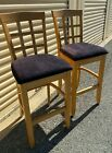 PAIR USED Bar Stools Wood (needs new upholstery) good condition. Strong.